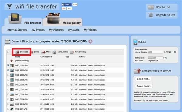 WiFi File Transfer:PCに移したいファイルにチェックを入れて「Download」をクリック