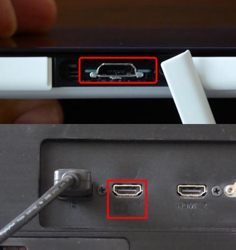端末側のMHL端子や「SlimPort」はマイクロUSB端子と兼用(上)テレビ・モニターのHDMI端子が「MHL」に対応(下)