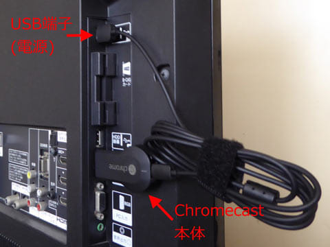 テレビにChromecastを接続した際のイメージ図。ハードディスク録画用のUSB端子があれば、電源供給に使うこともできる