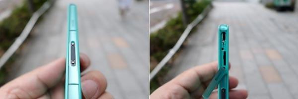 左側面のマグネット充電端子はシリーズ共通で健在。金属が剥き出しだった「Z2」から黒く塗られて進化(左)microUSBとmicroSDスロットは左側面上部に。ボディとの一体感があるデザイン(右)
