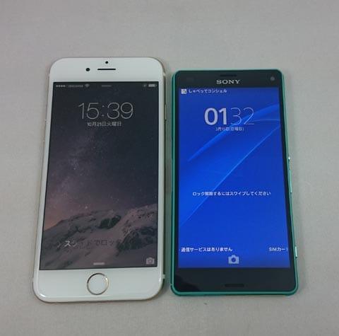 「iPhone 6」(左)「Xperia Z3 Compact」(右)