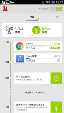 Opera Max - データマネージャ:節約した通信量をひと目で確認できる