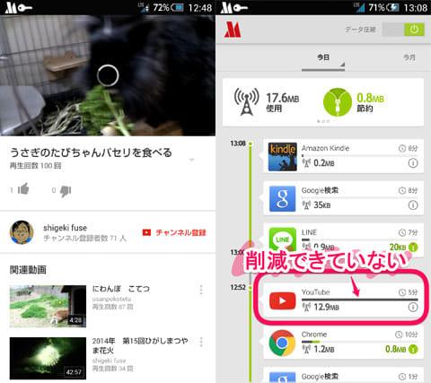 Opera Max - データマネージャ:『YouTube』を再生(左)なんと節約できていない(右)