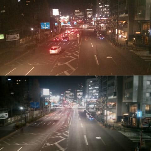 Lenx:普通のカメラアプリで撮影(上)本アプリで撮影(下)