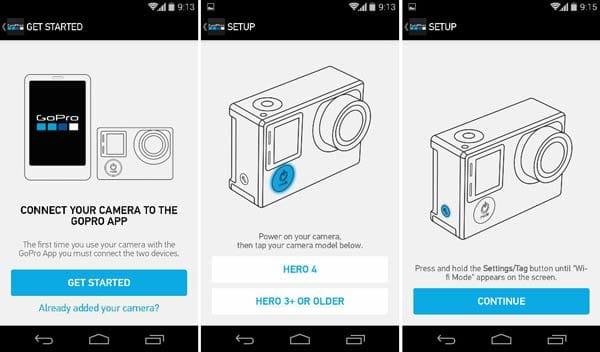 GoPro App:アプリホームから「CONNECT YOUR CAMERA」をタップして、カメラと接続する画面へ