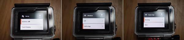 GoPro App:HERO4 シルバーエディションは、背面ディスプレイよりWi-Fi(Wireless)を設定できる