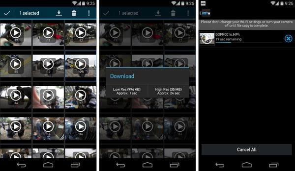 GoPro App:動画や写真を選択し、スマホ側に転送(ダウンロード)