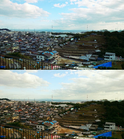 Camly – 写真編集&フィルター。:「Hunan」フィルター(上)「Gila」フィルター(下)