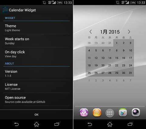 Free Calendar Widget:設定画面(左)テーマを変更。見た目はそれほど変化しない(右)