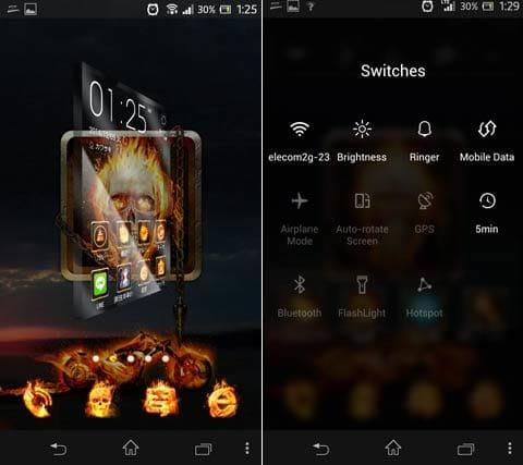 ZERO Launcher:ホーム画面のページを移動させている途中(左ウィジェット画面(右)