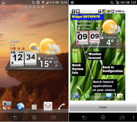 3D Digital Weather Clock:ホーム画面に表示されたウィジェット画面(左)ウィジェットの説明画面(右)