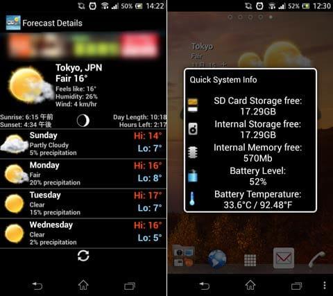 3D Digital Weather Clock:ウィジェットの天気をタップされると表示される天気情報の詳細画面(左)右下をタップすると表示される端末情報の画面(右)