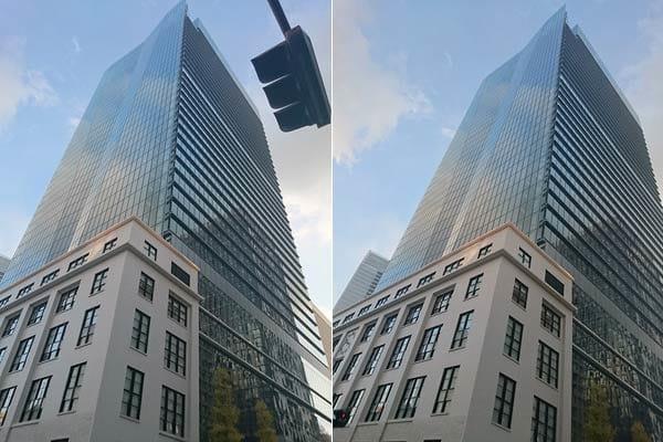 どうしても近い信号機の方が気になってしまう(左)少し場所を変えて信号機が写り込まない場所で撮影(右)