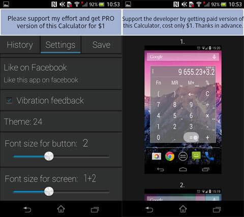 電卓ウィジェットのテーマ:設定画面(左)ウィジェットのデザインの一覧(右)