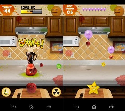 Annoying Orange: Carnage Free:ミキサーにフルーツを投げ入れる(左)バルーン割りゲームもある(右)