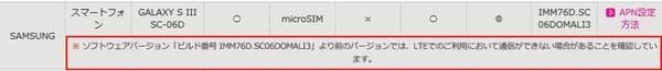 サムスン電子製の「GALAXY S III SC-06D」をIIJmioのSIMカードで使おうとすると、ソフトウェアバージョンによってはLTE通信ができないことがある(IIJmioのサポートページより)