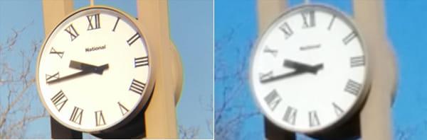 望遠レンズで撮影(左)スマホのズームで撮影(右)
