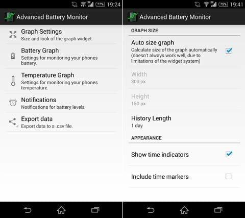 Advanced Battery Monitor:設定画面(左)時間の表示は「Show time indicators」をチェック(右)