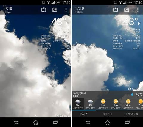 BeWeather & Widgets Pro:設定天気画面(左)週間天気を表示(右)