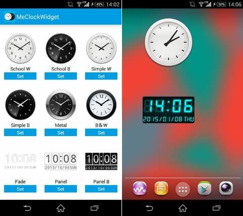 Me Clock アナログ&デジタル時計ウィジェット無料:好きなデザインを選択(左)様々なデザインのウィジェットを楽しもう(右)