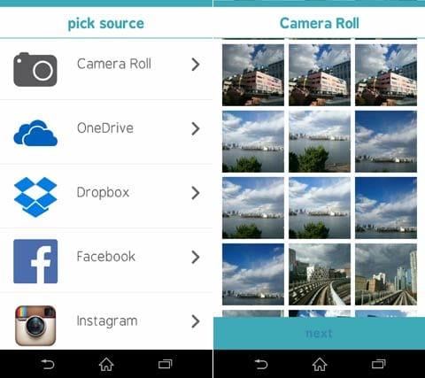 Microsoft Xim:スマホ本体の「Camera Roll」の他に『Facebook』『Instagram』などの写真も共有できる(左)見せたい(共有したい)写真をどんどん選ぼう(右)