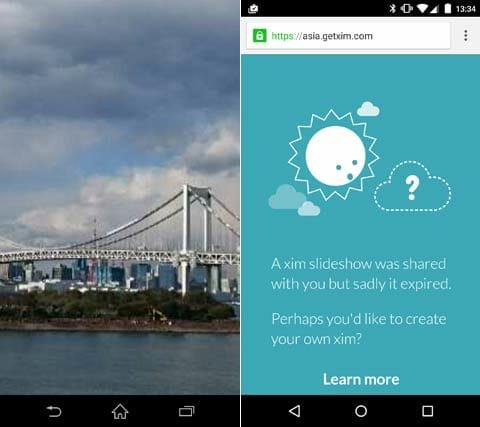Microsoft Xim:ピンチ操作で写真を拡大(左)翌日には写真がなくなっていた(右)