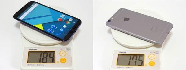 「Nexus 6」の重さはカタログ値通り(左)5.5インチの「iPhone 6 Plus」のほうがやや軽い(右)