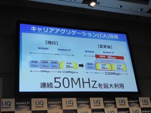WiMAXで利用している帯域を削減の上、「WiMAX 2+」に転用。転用した帯域と既存の帯域でキャリアアグリゲーションを行う