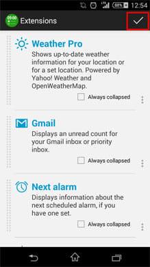KK Widget ( DashClock + ):ホーム画面に、時計と各種情報が表示される
