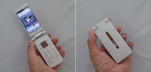 どこからどう見ても折りたたみ式のフィーチャーフォンにしか見えない「AQUOS K」。画面裏面にはサブディスプレイもある