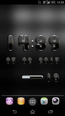 デジタル時計黒ウィジェット