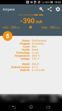 Ampere:バッテリーの消費電流がわかる