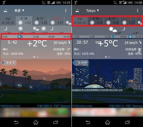 YoWindow 天候 無料:スライダーを動かすと時間毎の天気を確認できる(左)日付は画面上部のタブをタップすれば切り替え可能(右)