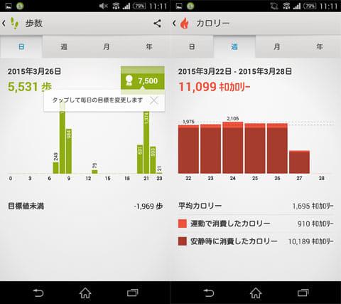 Lifelog:歩数の確認画面(左)カロリーは自動で計算してくれる(右)