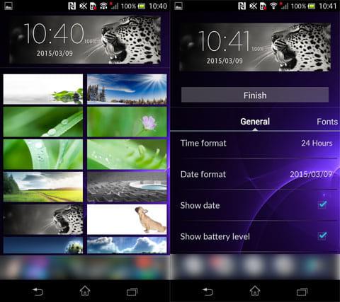 時計ウィジェット:背景選択画面(左)時計の設定(右)