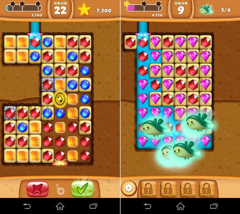 ダイヤモンドディガー:宝石を消して水の流れ道を作る(左)何故か地中にいるクリオネ。助けてあげよう(右)