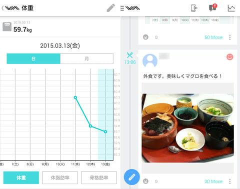 WM(わたしムーヴ):ライフログはグラフ化されて確認できる(左)SNSのタイムラインのような感覚で見ることもできる(右)