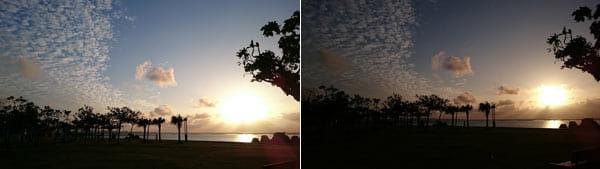 オートで撮影した画像(左)手動で露出を下げた画像。実際の見た目に近く、雲の存在感も際立つ(右)