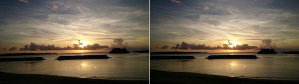 水平から1.2℃程ひだりに傾いている画像。少し気持ち悪い...(左)ほぼ水平の画像。落ち着いて見られますね(右)