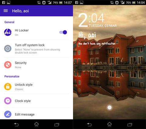 Hi Locker - Your Lock Screen:設定画面(左)壁紙の一例(右)