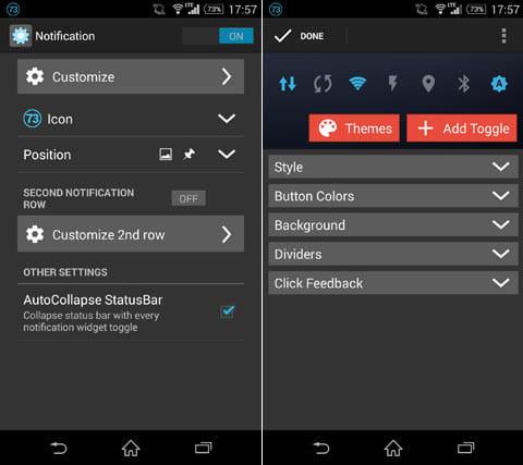 Power Toggles:設定画面(左)トグルの編集画面。デザインやボタンの追加が行える(右)