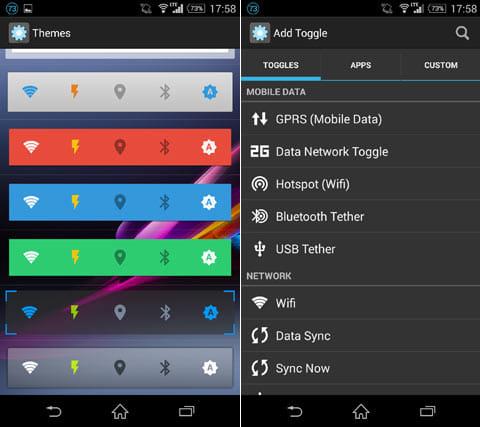 Power Toggles:デザイン変更画面(左)様々なスイッチが追加できる(右)