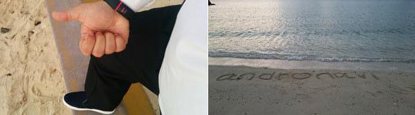 この日は喪服にスリッポンという謎スタイルでビーチへ(左)海に来たらやっちゃいますよね。「o」をハートに変形。まわりにいた女子高生軍団に指差されて笑われました(右)