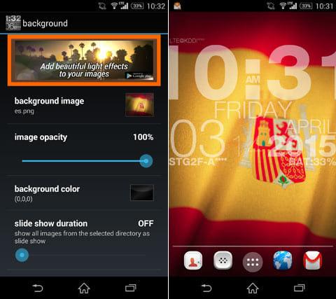 wp clock design live wallpaper:「backgroud」の設定画面(左)背景画像には各国の国旗もある(右)