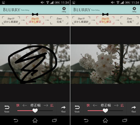 初心者向け♪ぼかし加工でお洒落写真-BLURRY(ブラリー):ぼかしをとりたい箇所を指でなぞる(左)背景がぼけた写真が完成(右)