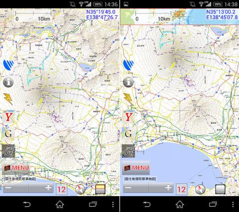 地図ロイド:等高線が表示された地図(左)画面上には緯度や経度の他、日本地図上の位置も表示できる(右)