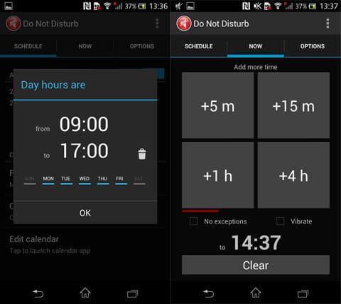 静かに!:ミュートに設定したい期間を設定(左)現時刻から任意の時間も可能(右)