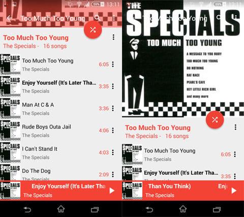 Marine Music Player:シンプルで使いやすいUI(左)アルバムのアートワークも表示(右)