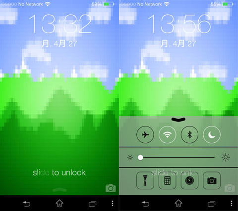 Pixel Launcher:ロック画面(左)iOS風トグルメニュー(右)