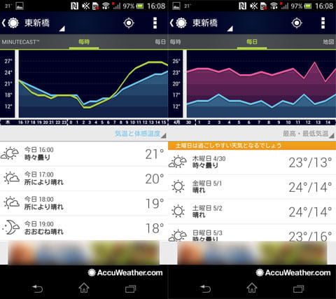 AccuWeather 天候:毎時の天気予報(左)週間天気予報はコメント付き(右)